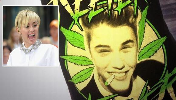 Cyrus publicó estampado de Justin Bieber entre hojas de marihuana. (Twitter)