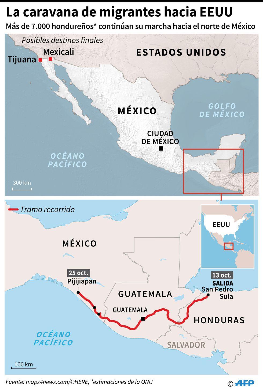 Caravana de migrantes partió de Honduras el 13 de Octubre, ya pasaron por México y siguen rumbo a Estados Unidos.