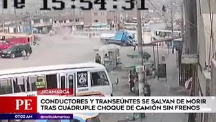 Camión pierde el control y provocó múltiple choque en Jicamarca