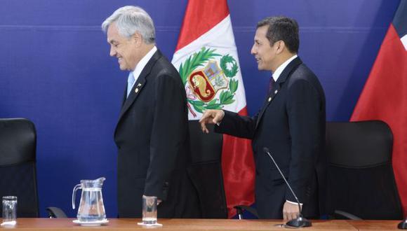 Mandatarios Piñera y Humala resaltan aspiraciones frente al diferendo. (David Vexelman)