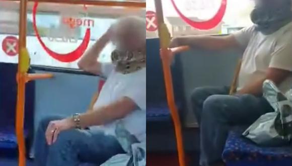Un video viral grabado a bordo de un bus muestra a un hombre usando una serpiente como mascarilla.   Crédito: Daily Mail.
