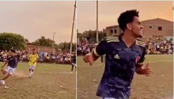 Luis Díaz disputó un partido amistoso en su barrio en Colombia luego de la Copa América. (Captura: Twitter)