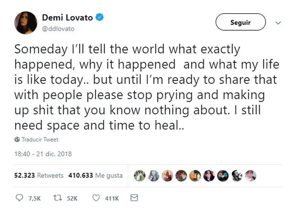 Este mensaje publicó Demi Lovato en Twitter. (Foto@ddlovato)