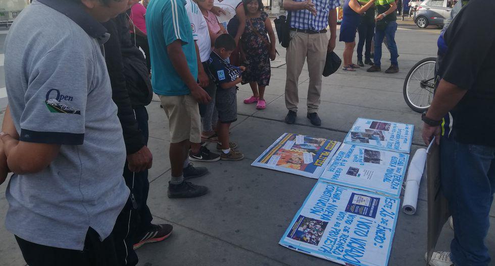 ABIERTA PROPAGANDA. En Lambayeque, el Movadef hizo propaganda en pleno centro de la ciudad llamando al voto viciado.