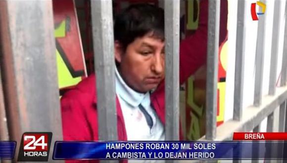 Breña: Delincuentes dejan malherido a cambista y le roban S/ 30 mil (Panamericana)