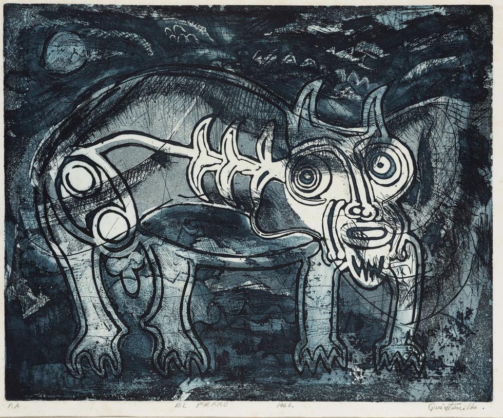 Cuadro 'El Perro' de 1966 se exhibe en la muestra de Alberto Quintanilla (Difusión).