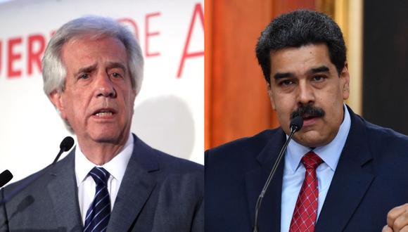 El presidente de Uruguay, Tabaré Vázquez, junto a su homólogo de Venezuela, Nicolás Maduro. (Foto: EFE)