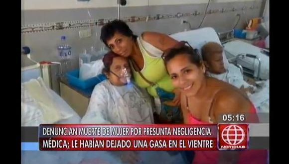 Mujer murió por presunta infección causada por una gasa dentro de su cuerpo. (Captura)