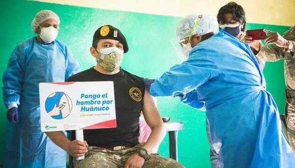 Huánuco: los miembros del Ejército recibieron la vacuna contra el COVID-19 y luego de 21 días serán inoculados con la segunda dosis. (Foto: Diresa Huánuco)