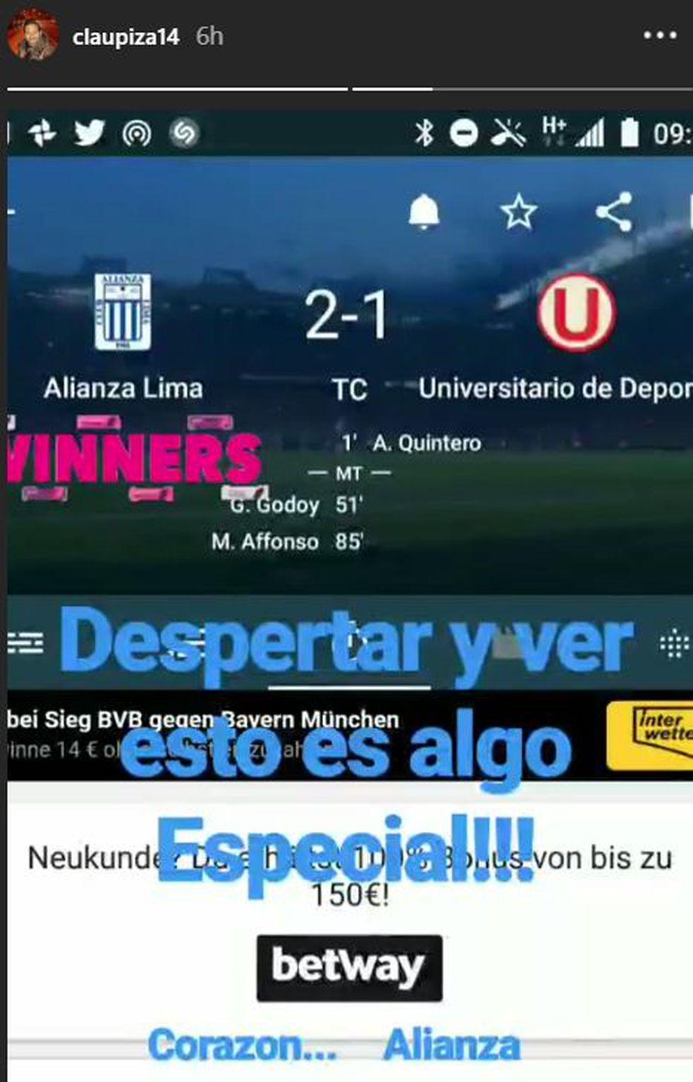 El festejo de Claudio Pizarro en Instagram tras triunfo de Alianza Lima. (Foto: Instagram)