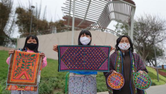 Wilma Maynas, Silvia Ricopa y Olinda Silvano serán las artistas que realizarán el mural en este recinto municipal. (Foto: Municipalidad de San Isidro)