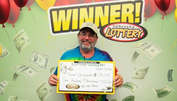 Michael Christiansen ganó el premio mayor por segunda vez este año. (Foto: Nebraska Lottery)
