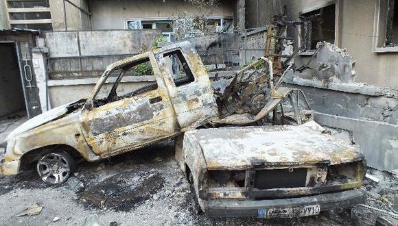 Secuelas de los enfrentamientos en Damasco. (Reuters)