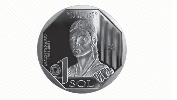 María Parado de Bellido, heroína de la independencia, es parte de la nueva serie numismática que se encuentra en circulación. (Banco Central de Reserva del Perú)