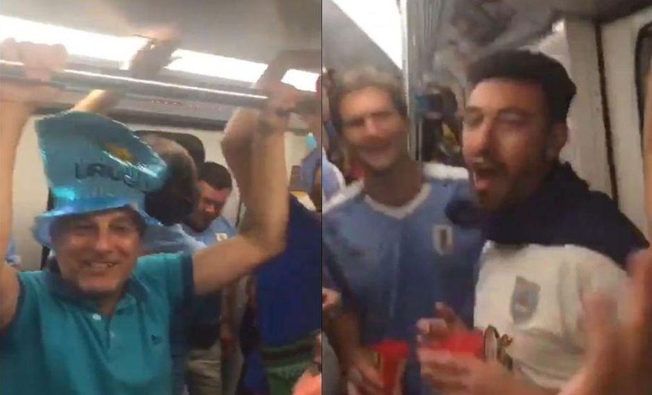 """Hinchas uruguayos le gritan a los chilenos: """"El pisco es peruano"""". (Captura)"""