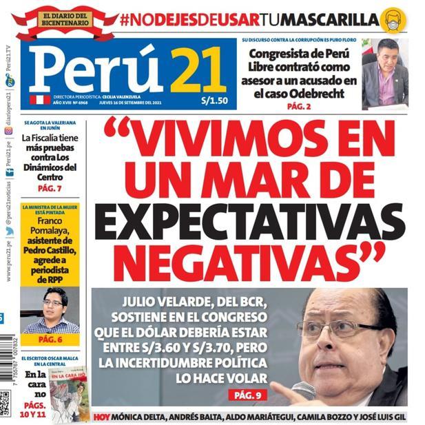 """JULIO VELARDE: """"VIVIMOS EN UN MAR DE EXPECTATIVAS NEGATIVAS"""""""