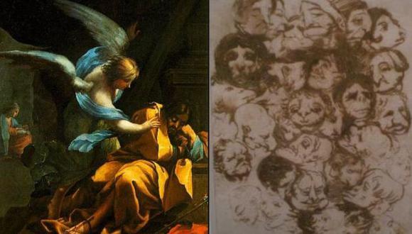 El óleo de 'El sueño de San José' y el dibujo a tinta 'Caricaturas de cabezas'. (ElPais)