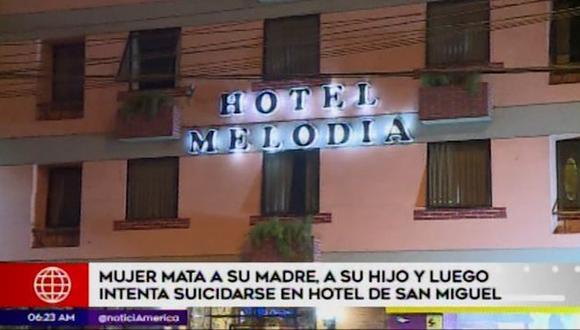 Trabajadores del hotel hallaron dos cadáveres al interior de hotel de San Miguel. (Captura: América Noticias)