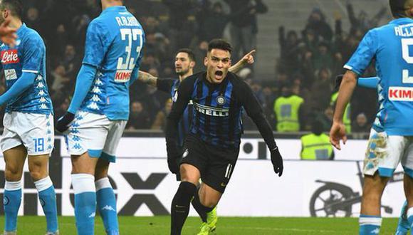 Inter es líder de la Serie A italiana con 42 unidades, empatado con Juventus, mientras que Napoli se ubica octavo con 24 puntos. (Foto: AFP)