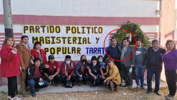 En las regiones. Congresistas Edgar Tello (de Lima) y Fernando Herrera junto a dirigentes de la nueva agrupación en Tarata (Tacna).
