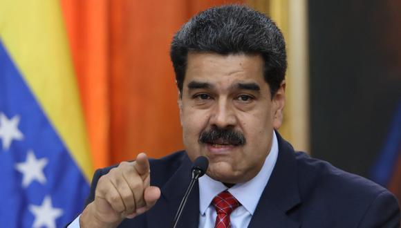 El jefe de Estado de Venezuela, Nicolás Maduro, habla durante una rueda de prensa desde el Palacio Miraflores este viernes, en Caracas. (EFE/Cristian Hernández).