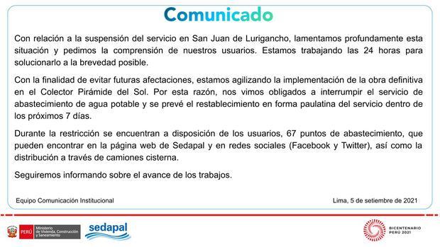 Sedapal lamenta la suspensión del servicio en San Juan de Lurigancho y piden la comprensión de sus usuarios. Foto: Sedapal