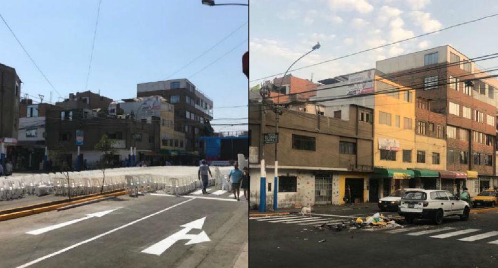 Izquierda: Así quedó la zona el sábado 21 para el evento municipal. Derecha: Así luce la zona a dos días del evento. (Perú21)