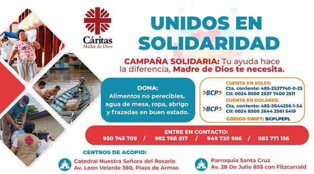 Cuentas BCP, números de contacto y lugares para recibir donaciones (Foto: Caritas)
