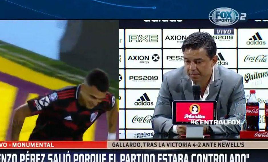 Marcelo Gallardo, DT de River Plate, habló de Alianza Lima a poco del partido por Copa Libertadores. (Foto: Captura Fox Sports 2)