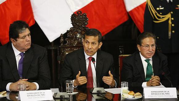 Alan García, Ollanta Humala y Alejandro Toledo en una reunión del Acuerdo Nacional. (USI)