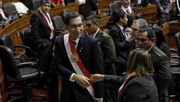 Martín Vizcarra se retira del Congreso luego de pronunciar su mensaje a la Nación.