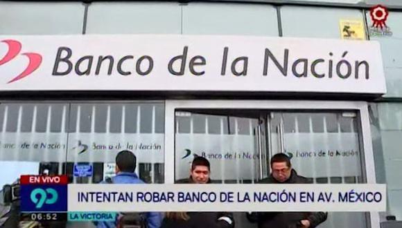 Esta madrugada, delincuentes intentaron robar la agencia del Banco de la Nación ubicada en la cuadra 2 de la avenida México. (Captura: Latina)