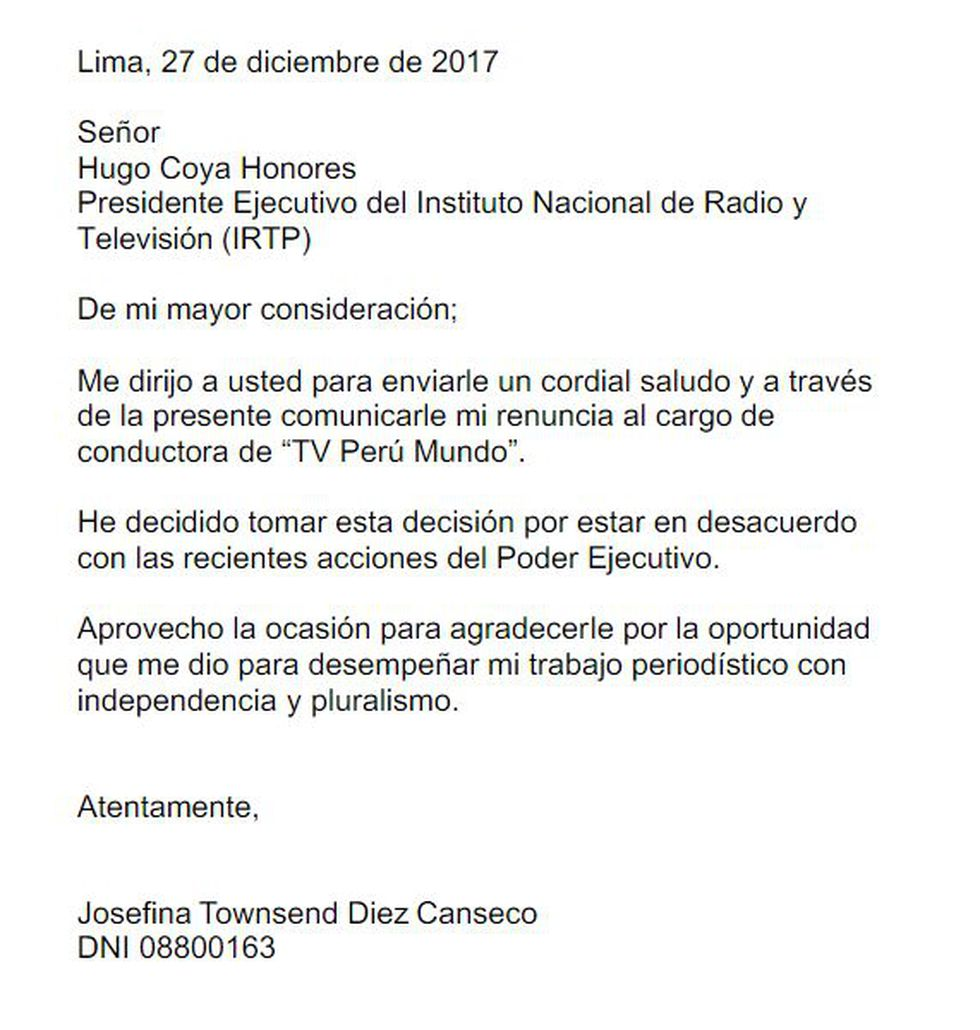 Carta de renuncia de Josefina Townsend