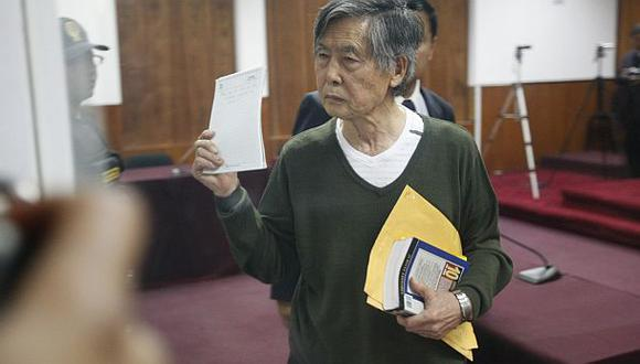 Fujimori en una audiencia del juicio en su contra por el caso diarios 'chicha'. (USI)