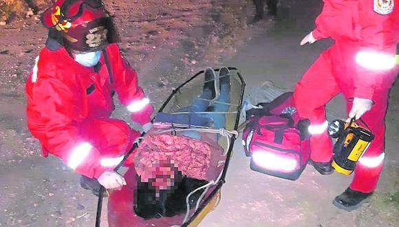 Ayacucho: la fémina quedó inconsciente durante varios minutos, su rostro estaba desfigurado, con varios cortes y golpes en manos y piernas. (Foto: PNP)
