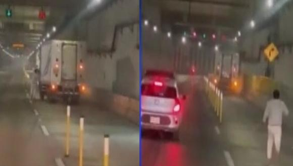 Conductor corrió tras su camión en la vía Expresa de la Línea Amarilla. (Foto: Captura Canal N)