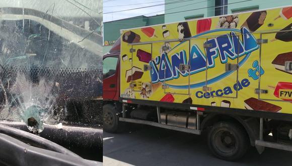 Proyectil de bala impactó contra luna delantera de camión repartidor de helados. (GEC)