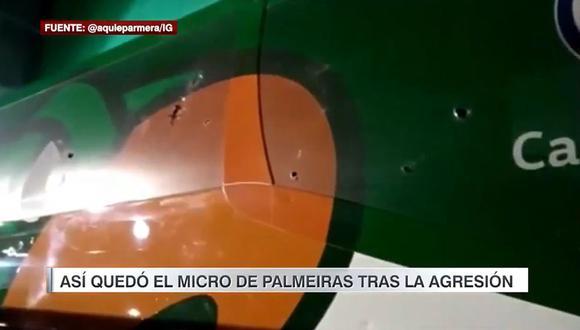 Bus de Palmeiras fue atacado por sus propio hinchas. (Video: Twitter @aquieparmera/IG)