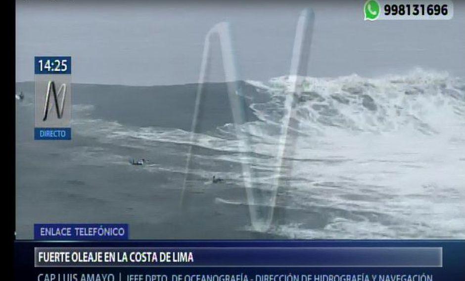 Estos fenómenos ocurren por sistemas de presión conocido como Anticiclón del Pacífico Sur, generando fuertes vientos en el litoral. (Foto: Captura Canal N)