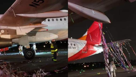Aeronave se encontraba lista para aterrizar cuando fue sorprendida por el pirotécnico. (Composición)