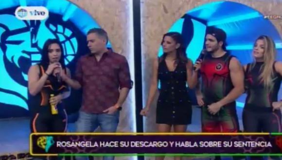 Rosángela Espinoza y un tenso momento en Esto es Guerra.  (Foto: América Televisión)