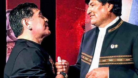 Diego Maradona y Evo Morales llevaban una larga amistad. (Twitter: @evoespueblo).