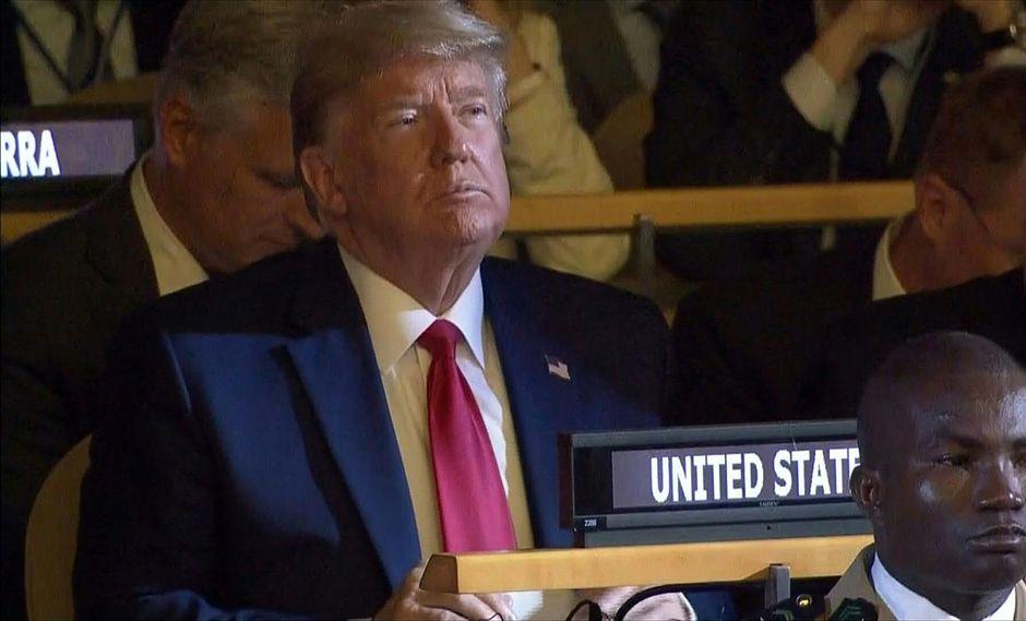 Resultado de imagen para Donald Trump llegó por sorpresa a la Cumbre de Acción Climática en la ONU