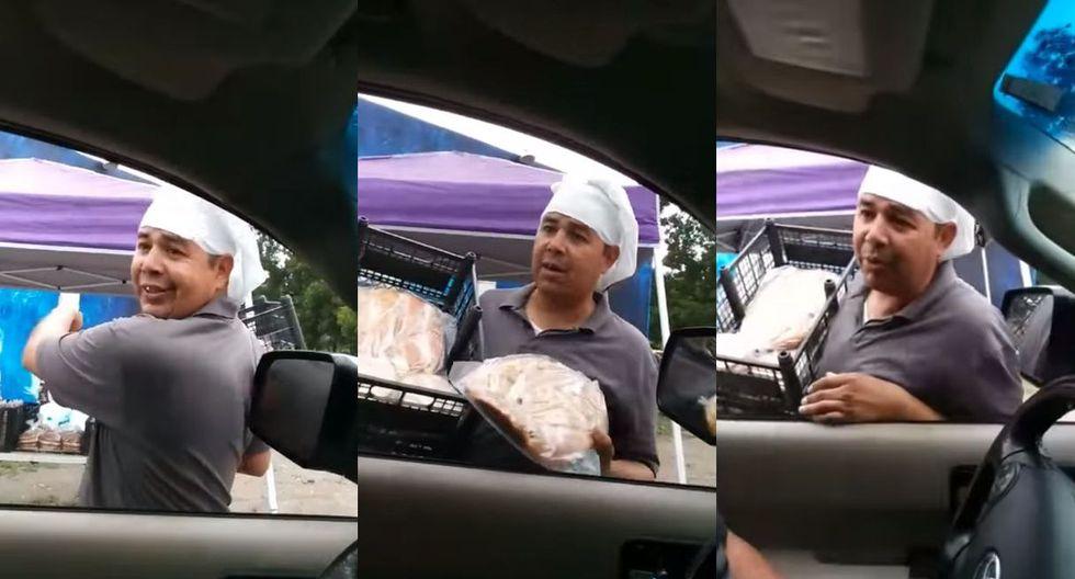 En México grabaron en un video de Facebook la genial forma de un vendedor a la hora de ofrecer pan cemita. Las reacciones hicieron viral el caso. (Foto: captura)