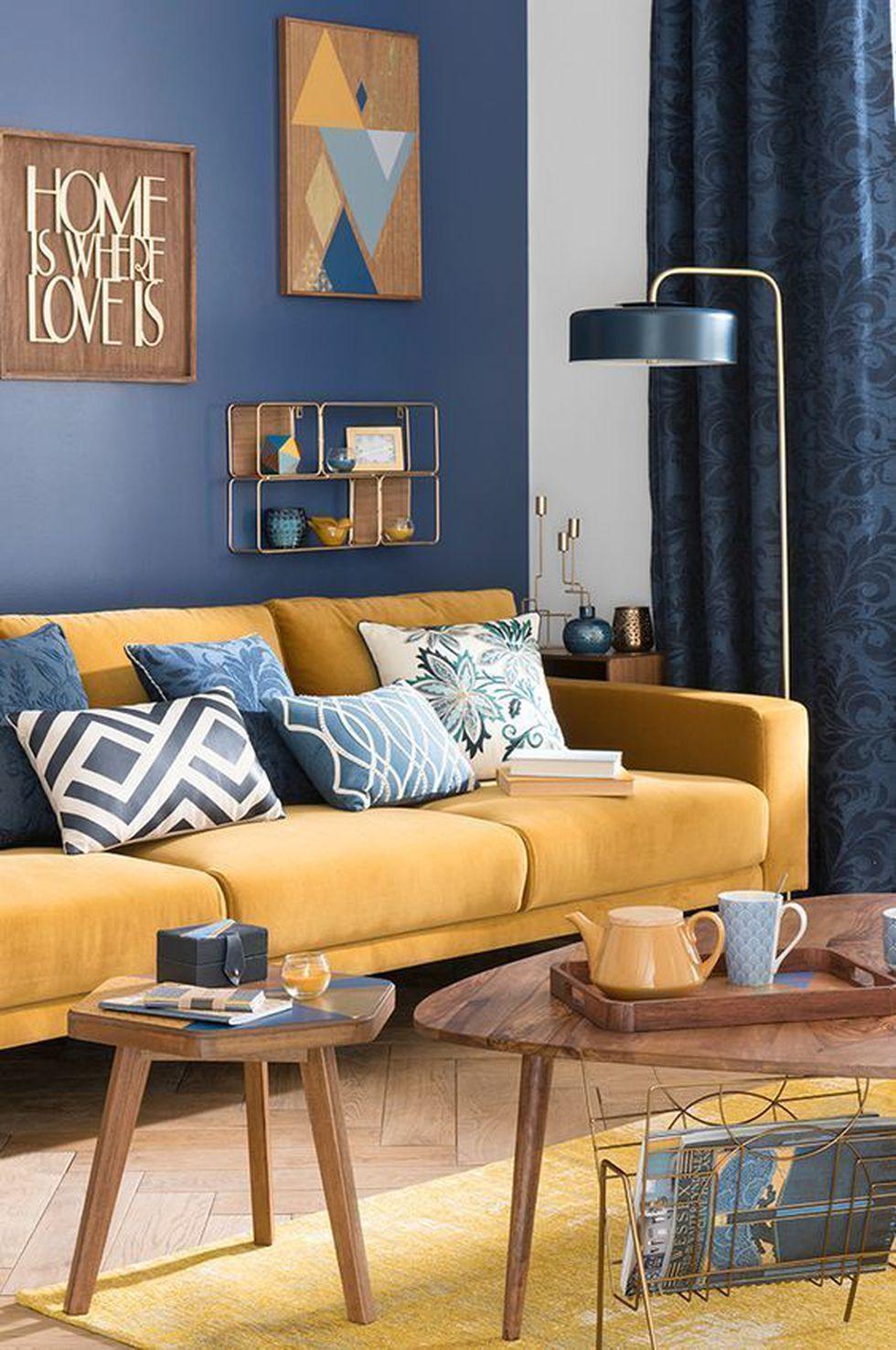 Combinado con el azul, el mostaza queda perfecto. (Foto: Pinterest Inspirahogar)
