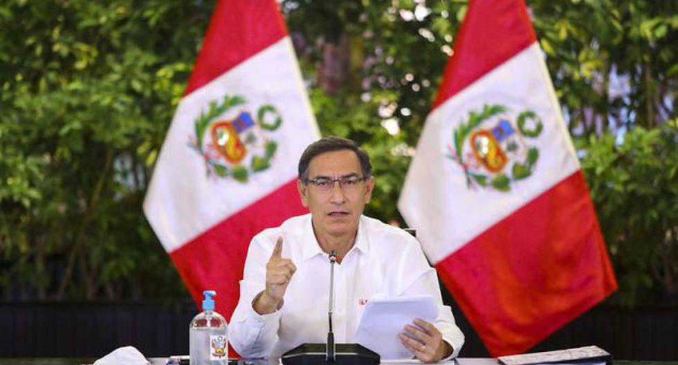 El presidente Martín Vizcarra en su pronunciamiento ayer desde Palacio de Gobierno. (GEC)