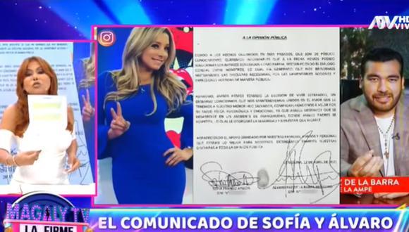 Magaly Medina se pronunció tras el comunicado de Sofía Franco y Álvaro Paz de la Barra. (Foto: Captura de video)