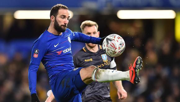 Gonzalo Higuaín hizo su debut con el Chelsea en la victoria contra Sheffield Wednesday por la FA Cup. (Foto: AFP)