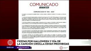 Mininter: Fiestas por Halloween y Día de la Canción Criolla están prohibidas