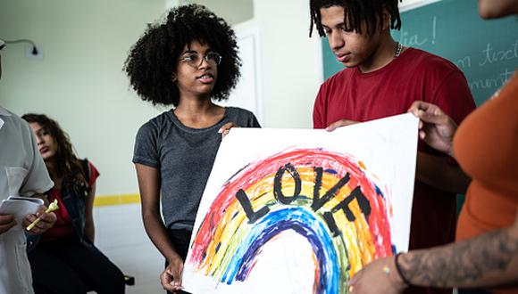 Students doing a presentation about LGBTQI rights at school